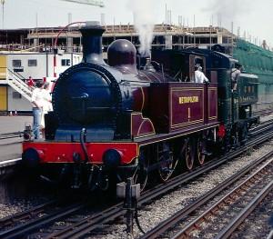 La locomotora Met 1 en la estación de Amersham en 1990. Foto: Steven Duhig.