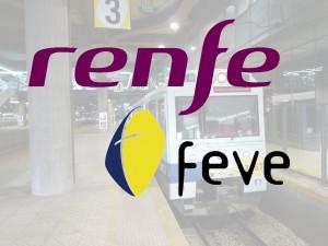 Logos de Renfe sobre la foto de una 2400 de Feve en Oviedo tomada por Nils Öberg.