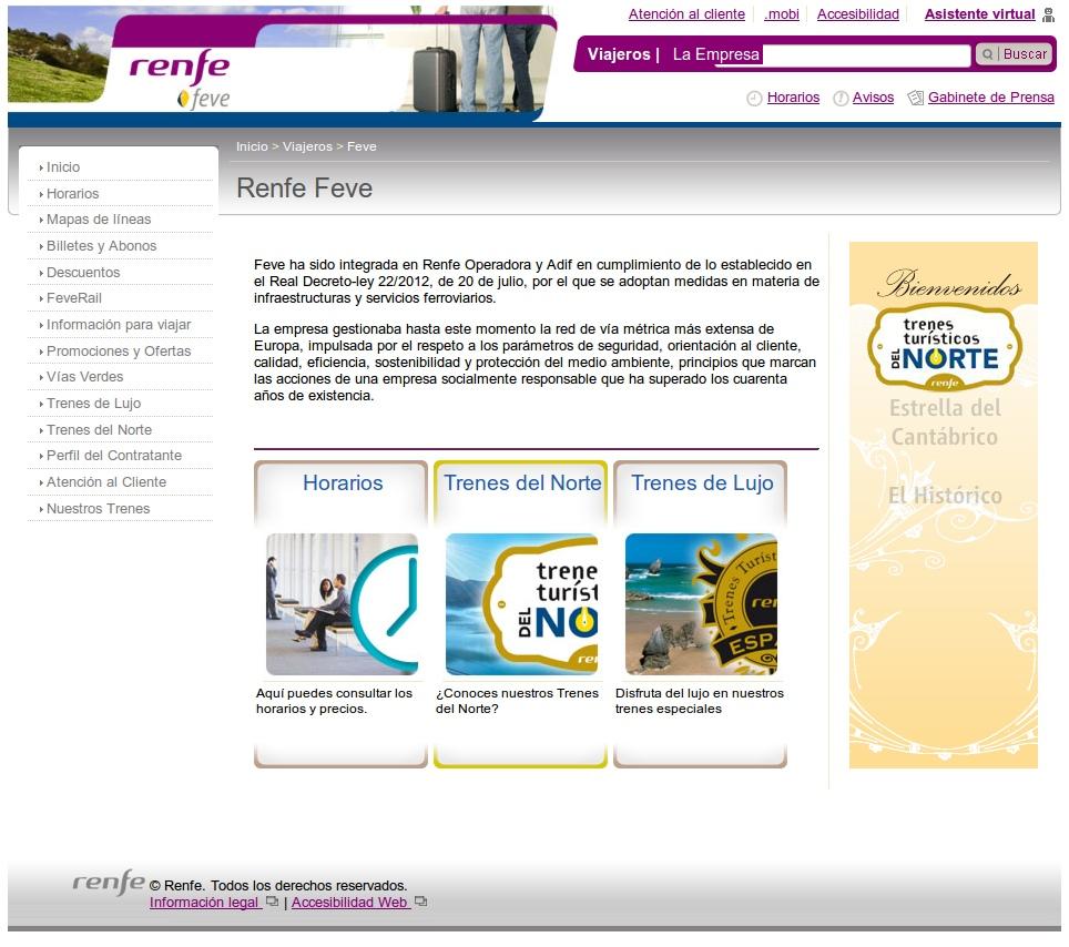Captura de pantalla de la web de Renfe Feve