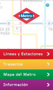 Captura de pantalla de la aplicación de Metro de Madrid para Android.