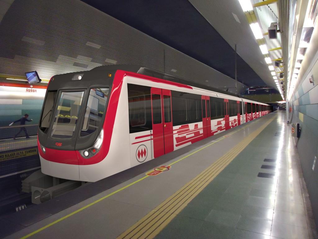 Diseño de los nuevos trenes de CAF-Thales para el metro de Santiago. Foto © cortesía de CAF