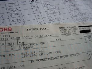 Tarjeta y billete de InterRail.
