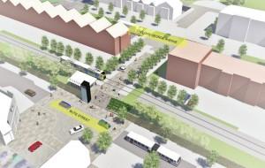 Imagen que recrea cómo se integraría el ferrocarril metropolitano en el centro de Cardiff. Imagen: Gobierno de Cardiff.
