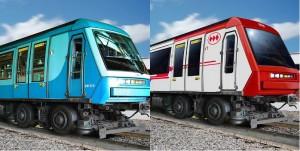 Comparativa del aspecto exterior original de los NS-93 y el reformado con aire acondicionado. Imagen: © Metro de Santiago.