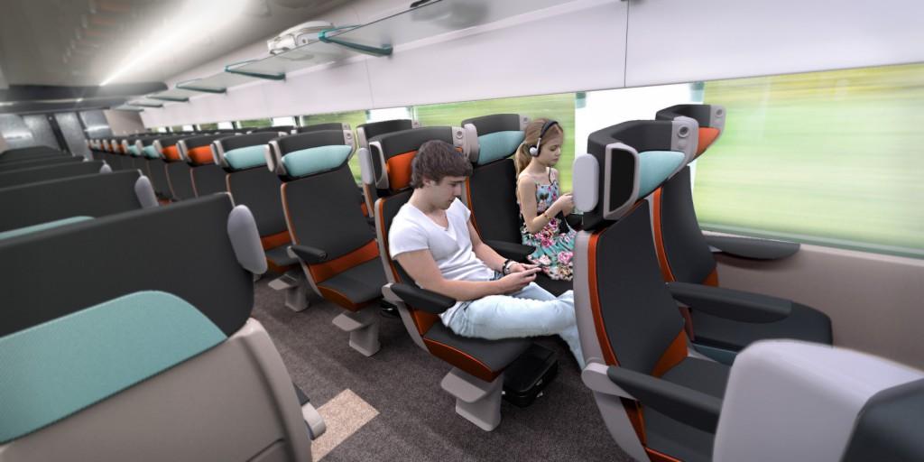 Interior del tren renderizado por ordenador. Imagen © Alstom.