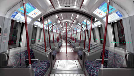 Interior de los trenes diseñados por Priestman Goode para el metro de Londres.