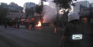Imagen del incendio provocado por la explosión eléctrica en Santiago de Chile. Foto: Radio Agricultura.