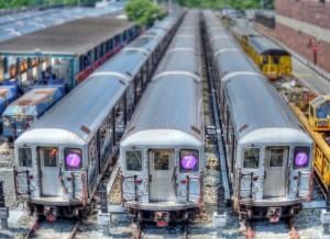 Trenes del metro de Nueva York en el depósito de la línea 7 en Shea Stadium. Foto: b k.