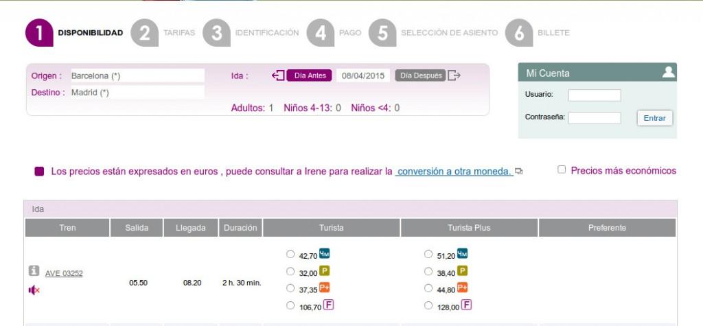Venta de billetes para el primer AVE del día entre Madrid y Barcelona menos de 24 horas antes de su salida.