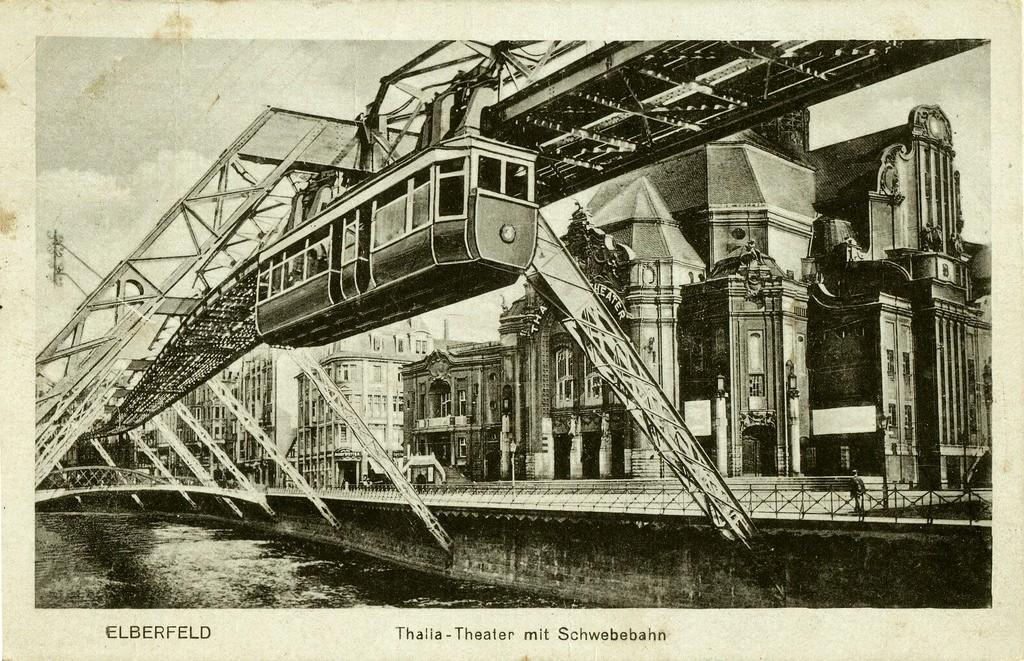 Dibujo que muestra el diseño original del monorraíl, respectado actualmente. Foto: Wwwuppertal.