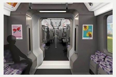 La decoración interior de los trenes también mantendrá el código de colores de Crossrail. Foto: Derby Telegraph.
