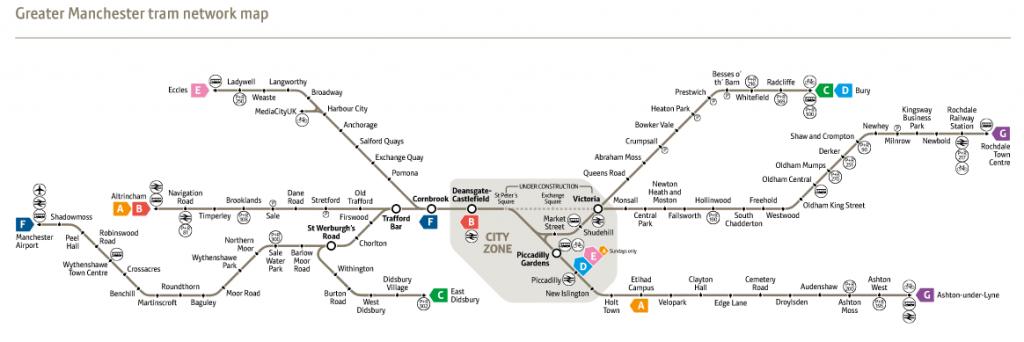 Plano actual del tranvía de Manchester. Foto: Metrolink.