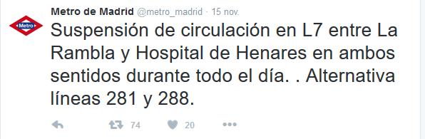 Tweet en el que se informó del cierre de MetroEste durante la jornada del domingo. Foto: Metro de Madrid.