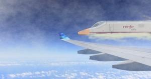 Recreación del AVE 112-022 volando a la altura de un avión. Foto original de Landahlauts.