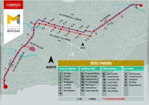 Mapa de la primera línea del tranvía de Cuenca. Foto: Tranvía de Cuenca.