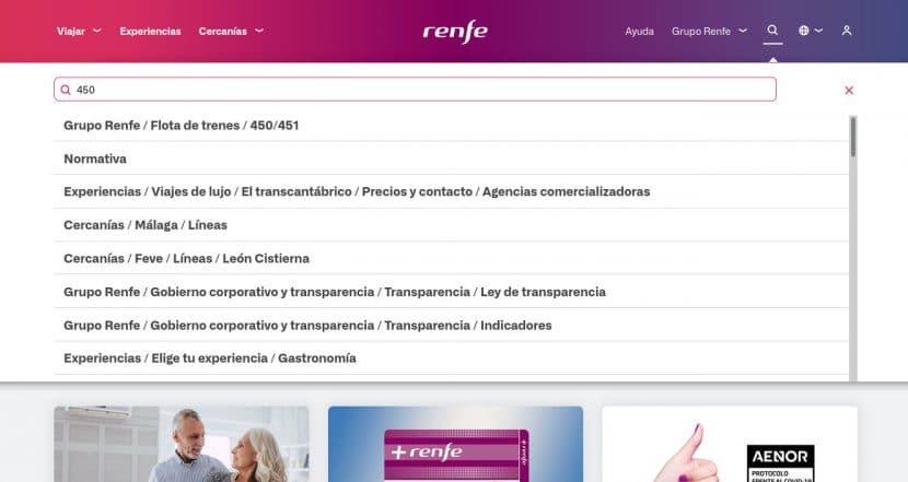 Ejemplo de búsqueda en la nueva web de Renfe con el término 450, los trenes de dos pisos de Cercanías.
