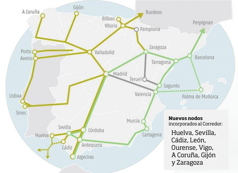 Mapa del Corredor Atlántico (en marrón claro) y del Corredor Mediterráneo (en verde) elaborado por Adif.