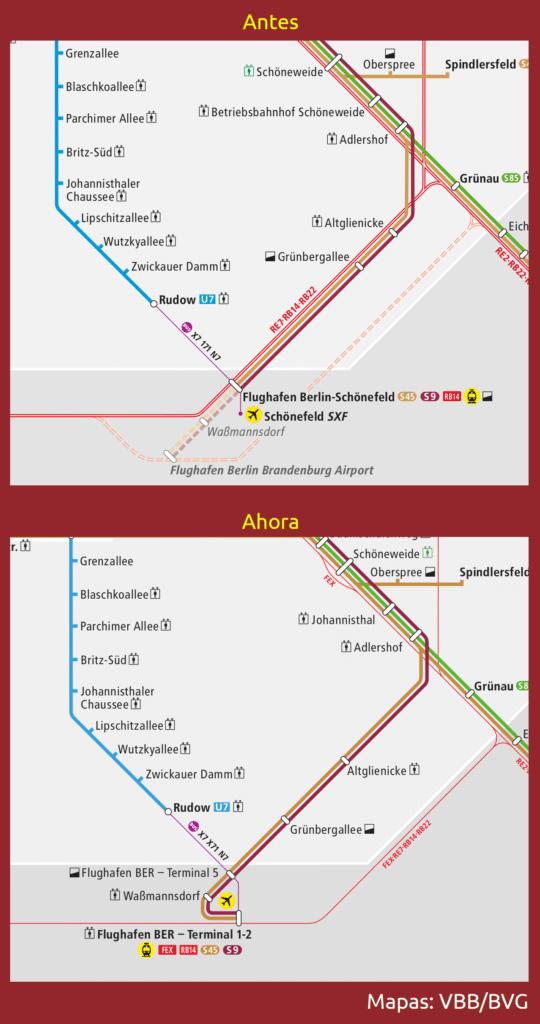 Plano comparativo de los servicios ferroviarios en el aeropuerto de Berlín
