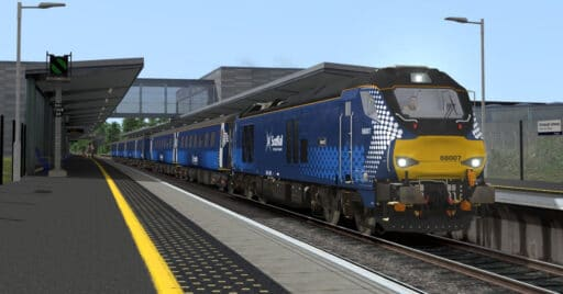 Locomotora UK Light de la serie 68 con coches Mk 2 de ScotRail, incluidos en la ruta Fife Circle Line. DOVETAIL GAMES.