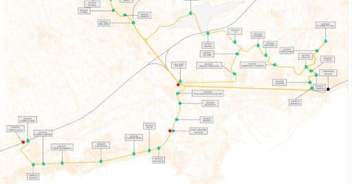 Recorte del plano de la fase 3 del Tren-Tram de Camp de Tarragona.