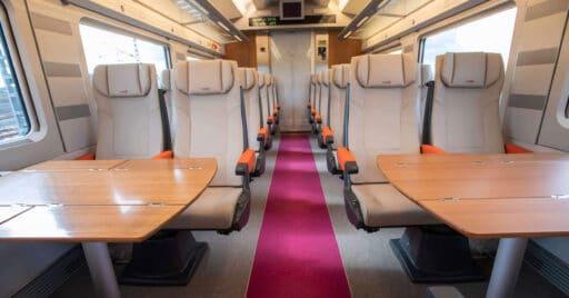 Interior de un tren de la serie 112 transformado para el servicio Avlo. RENFE.