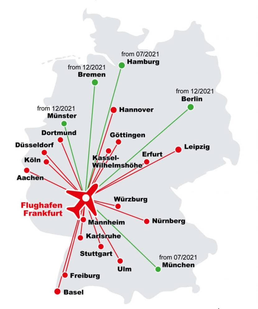 Plano de los servicios Lufthansa Rail Express. DB.