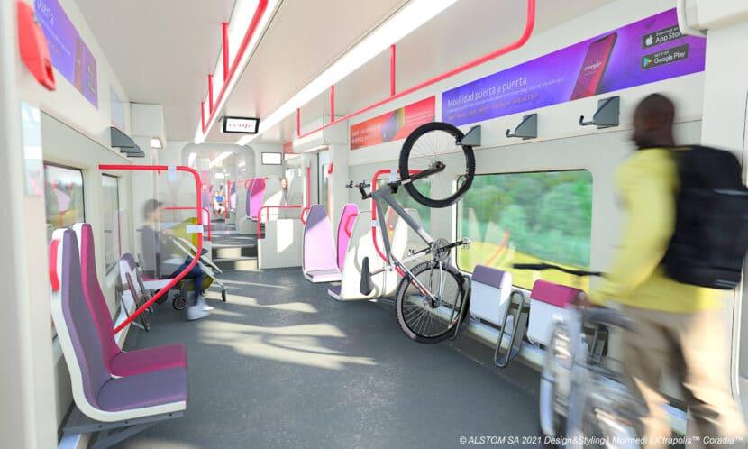 Zonas flexibles en el interior de los nuevos trenes de Renfe Cercanías de Alstom con espacio para el transporte de bicicletas.