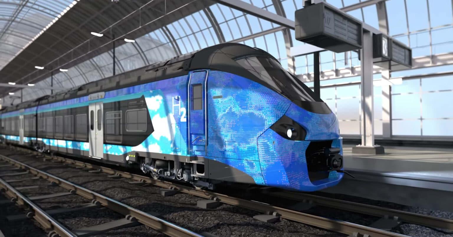 Rénder del Alstom Coradia Polyvalent H2 que SNCF ha comprado para cuatro regiones francesas. ALSTOM.