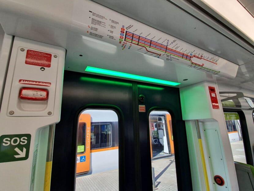 """Detalle del """"termómetro"""" con las líneas del Metro del Vallés"""