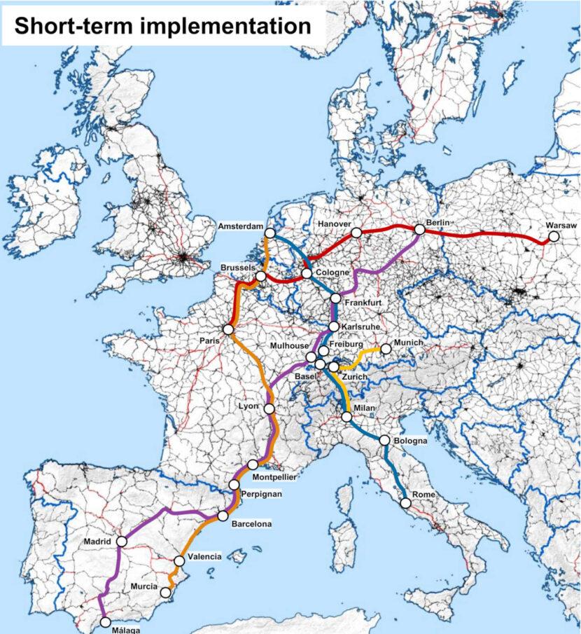 Rutas que se pueden implementar en el corto plazo de la red Trans Europ Express 2.0