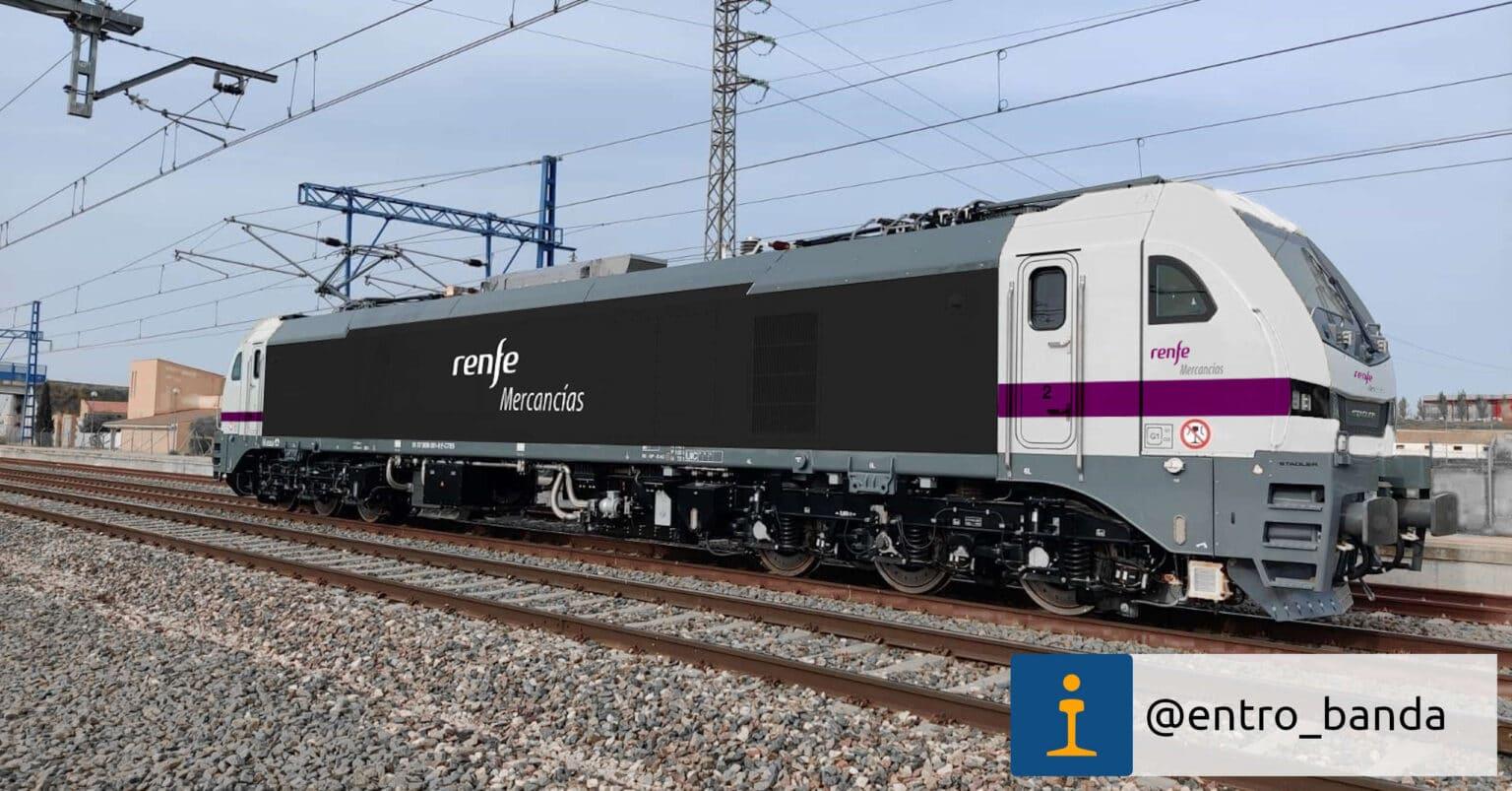 Locomotora Euro6000 de Captrain repintada digitalmente con los colores de Renfe Mercancías.