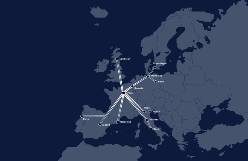 Mapa de los trenes propuestos por Midnight Trains.