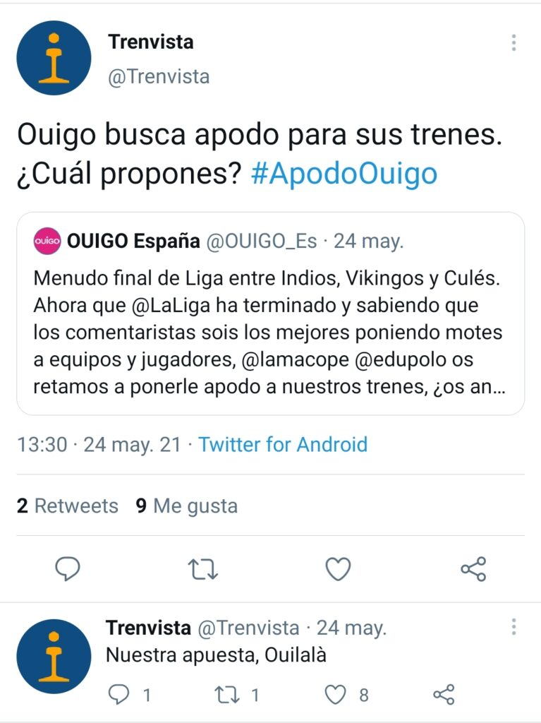 Tuit de Ouigo convocando el concurso para ponerle apodo a sus trenes junto a la propuesta de Trenvista.