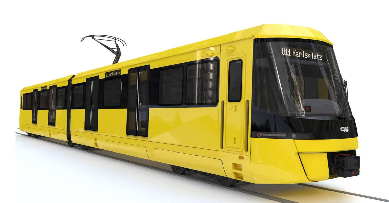 Renderizado de los trenes ligeros que CAF fabricará para el Stadtbahn de Essen. © CAF.
