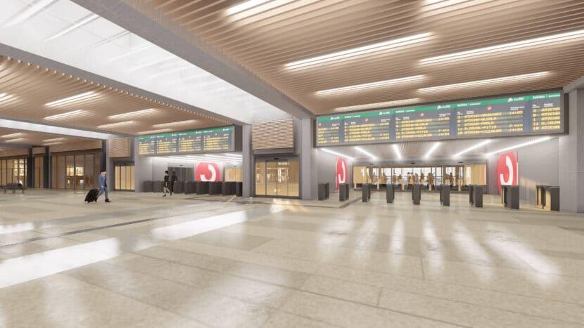 Diseño de cómo quedará el acceso a la zona de Cercanías desde el vestíbulo de la estación.