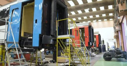 Coches Arco de CP reformados en los talleres de Guifões. FOTOGRAMA DEL VÍDEO.