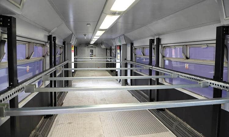 Interior de la primera unidad reformada para el programa Swift Express Rail. EVERSHOLT RAILWAY.