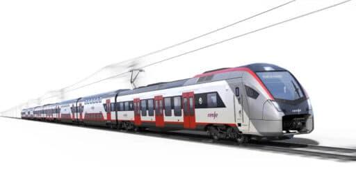 Imagen a ordenador de uno de los 59 trenes de Cercanías de Stadler, en concreto uno de 200 metros. STADLER.