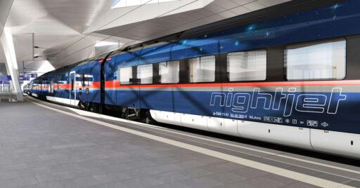 Diseño a ordenador de los Siemens Viaggio Next Level, los nuevos trenes Nightjet de ÖBB. © SIEMENS.