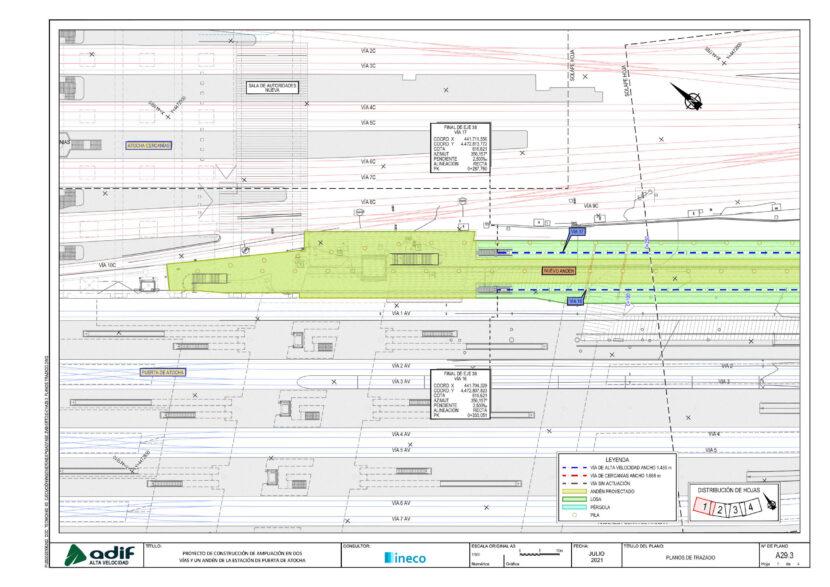 Plano de trazado de la ampliación de Puerta de Atocha en dos vías (1 de 2). © ADIF ALTA VELOCIDAD.