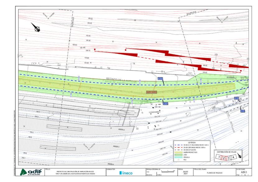 Plano de trazado de la ampliación de Puerta de Atocha en dos vías (2 de 2). © ADIF ALTA VELOCIDAD